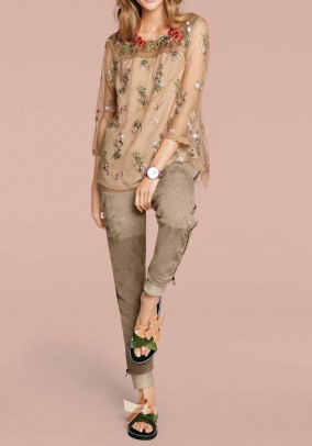 Velours leather trousers, sand