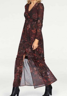 Bordo spalvos maxi suknelė