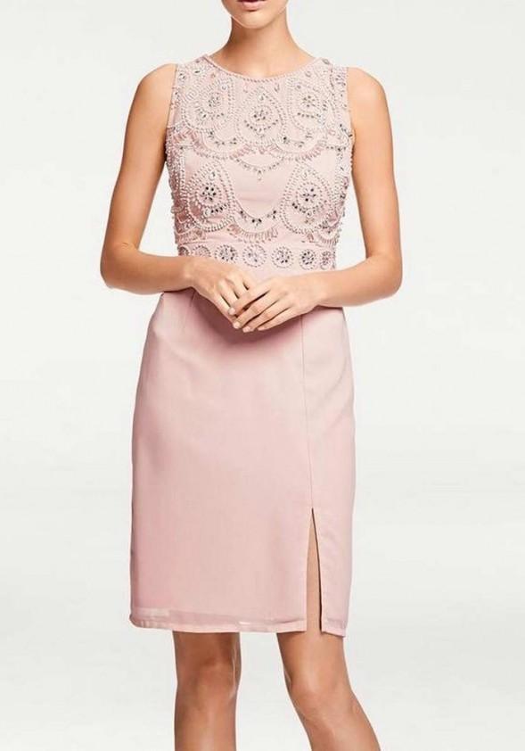 Rausva dekoruota kokteilinė suknelė