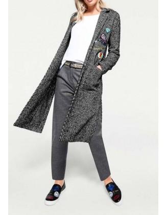 Pilkas dekoruotas paltukas su vilna