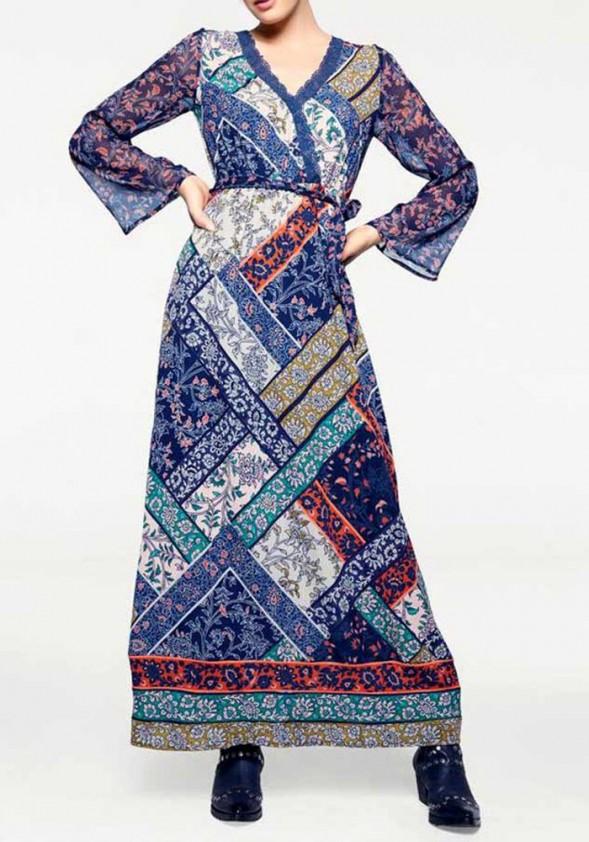 Mėlyna ilga bohemiška suknelė