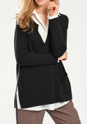 Juodas laisvas vilnos megztinis. Liko 36/38 dydis
