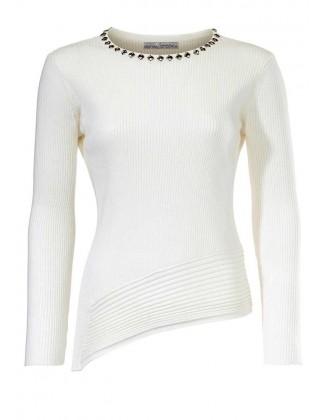 Baltas asimetrinis puoštas megztinis