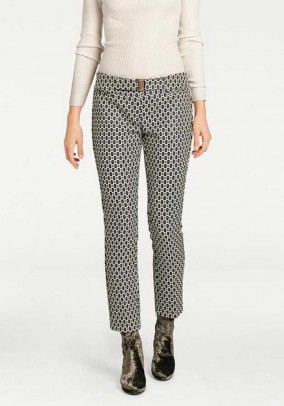 Trousers, black-offwhite
