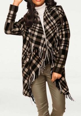 Vilnonis languotas rudas švarkas