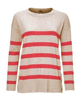 Rusvas megztinis su juostelėm