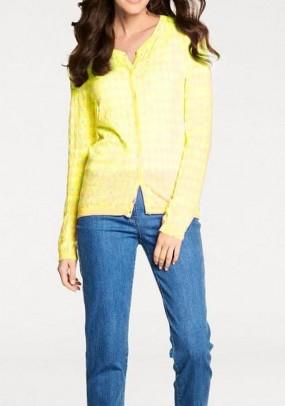 Geltonas languotas megztinis su kašmyru