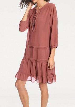 Chiffon dress, rosewood