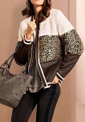 Weave fur jacket, brown-ecru