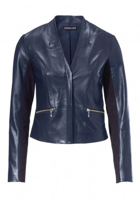 Leather blazer, navy