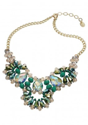 Necklace, green-gold coloured