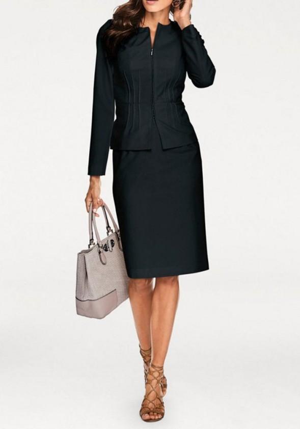 Juodas sijono ir švarko kostiumas