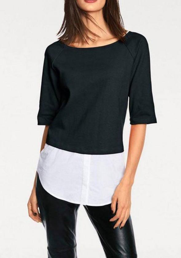 Juodas megztinis su marškinių imitacja