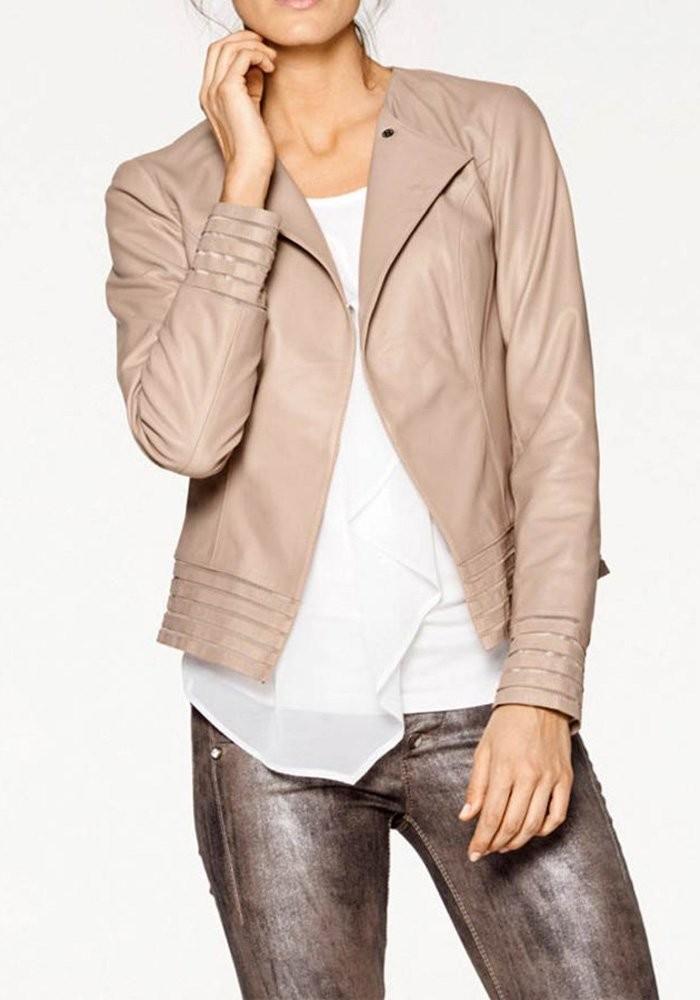 58aafad746 Leather jacket, nude