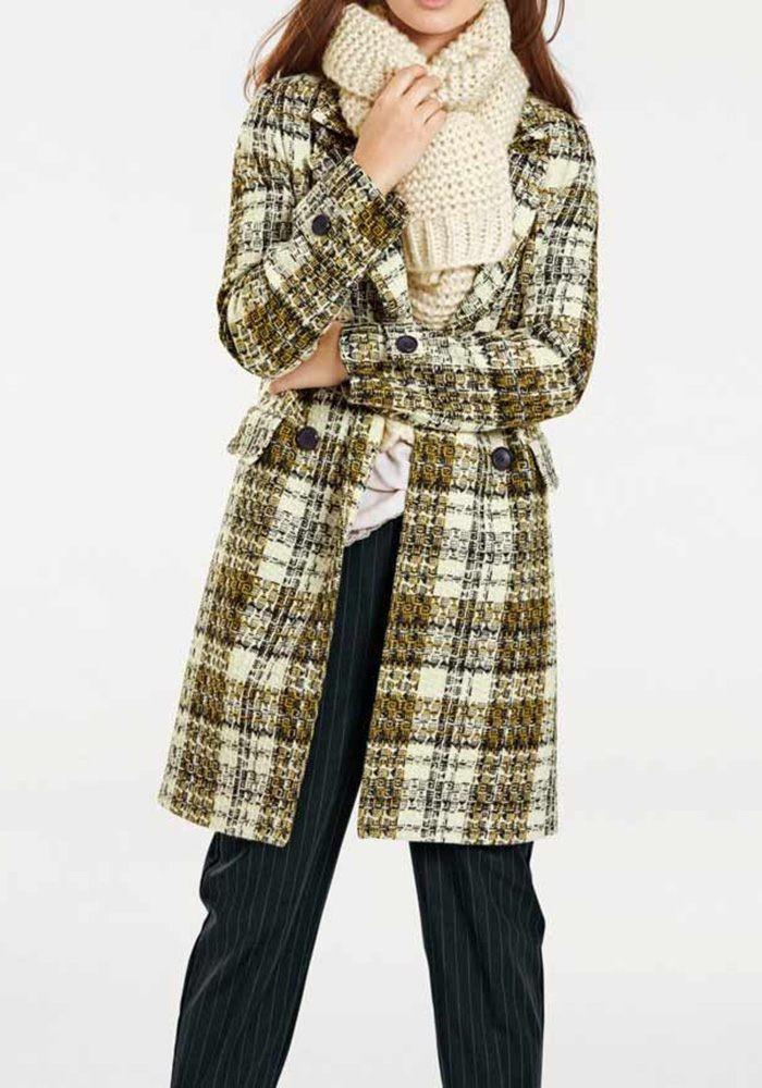 d0315fd744 Wool coat, yellow-black-cream