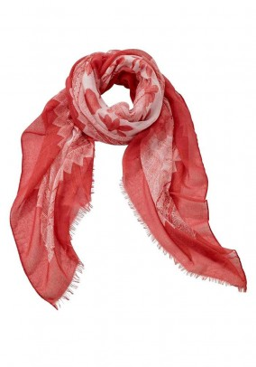Scarf, coral-white