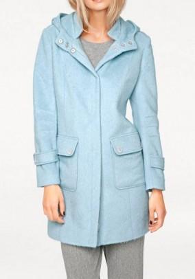 Mėlynas pūkuotas paltas