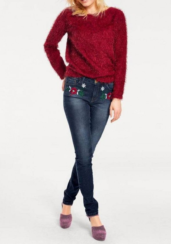 Skinny jeans with embroidery, blue