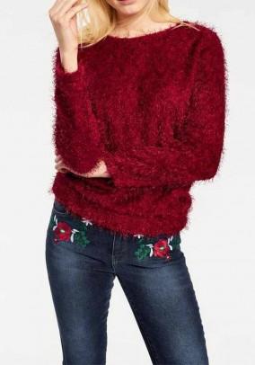 Pūkuotas bordo spalvos megztinis