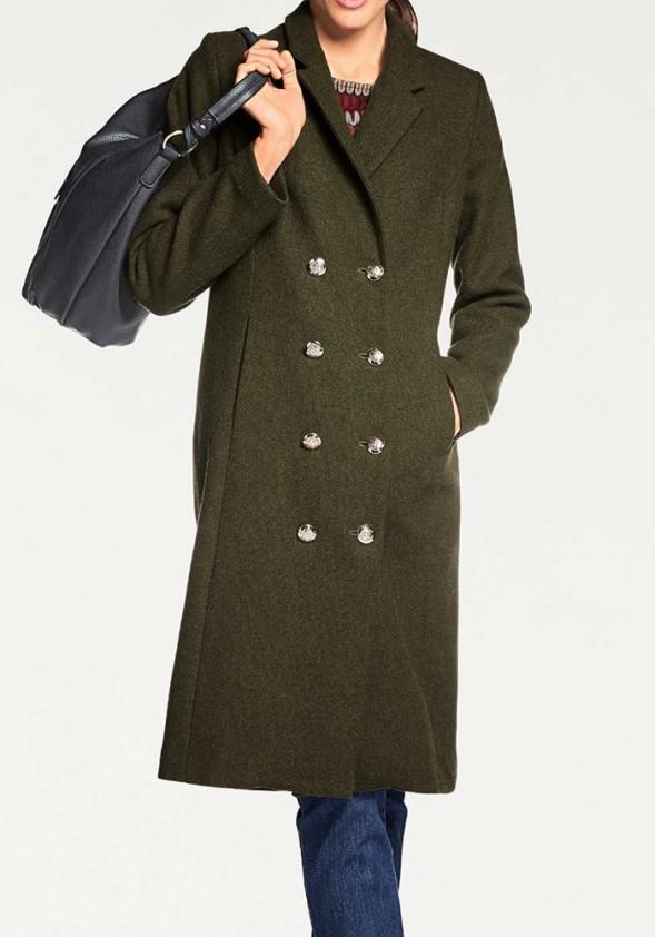 Chaki spalvos vilnonis paltas. Liko 44/46 dydis
