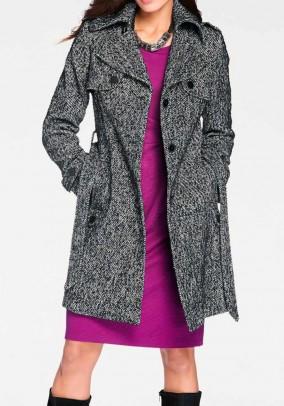Pilkas paltas su vilna. Liko 42 dydis