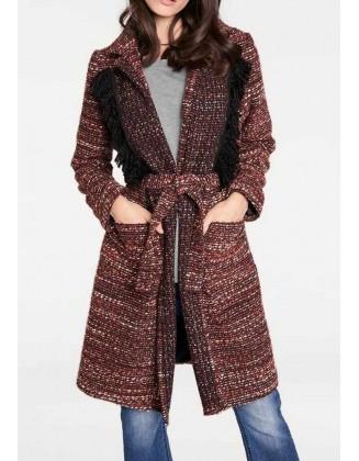Margas rudas paltas su vilna
