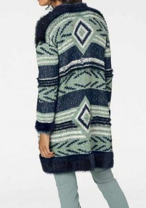 Ilgas žalsvas megztinis