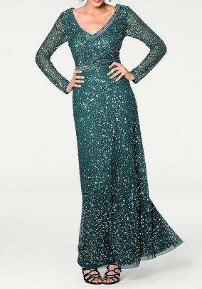 Evening gown, emerald