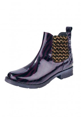 Leather bootie, purple-golden