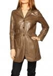 Šviesiai rudas natūralios odos paltas