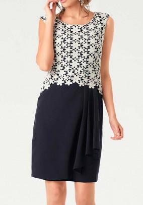 Lace dress, navy-white