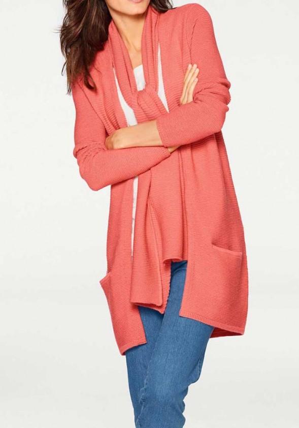 Koralinis merino vilnos megztinis