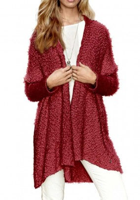 Knit coat, dark red