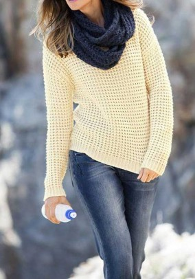 Gelsvas klasikinis megztinis