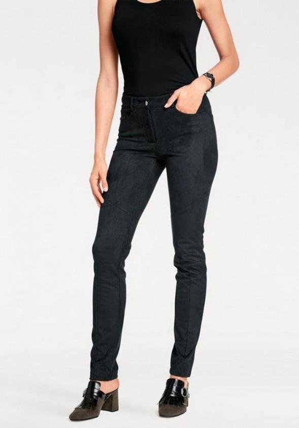 Optimizing leather imitation trousers, black