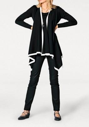 Juodas asimetrinis kardiganas