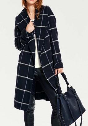 Check wool coat, navy