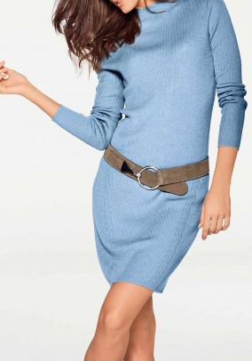 Wool knit dress, blue