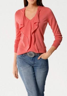 Cashmere cardigan, coral