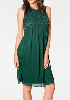 Embroidered dress with beads, dark green