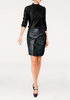 Leather skirt, black