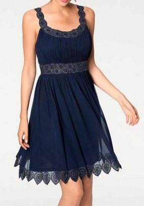 Embroidery dress, midnight blue