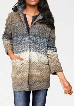 Rusvas dryžuotas paltas