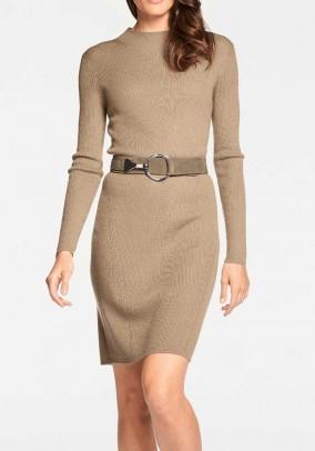 Merino wool knit dress, camel
