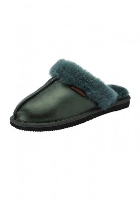 Sheep fur slipper, fir-tree green