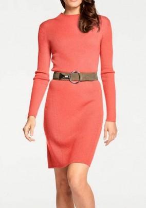 Wool knit dress, coral