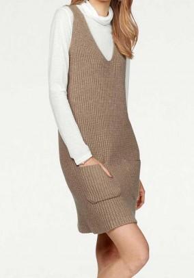 Knit tunic dress, beige
