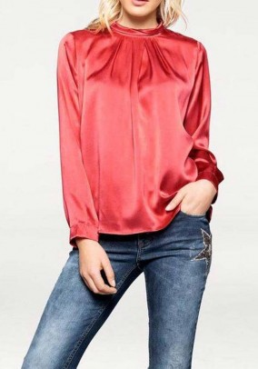 Satin blouse, coral