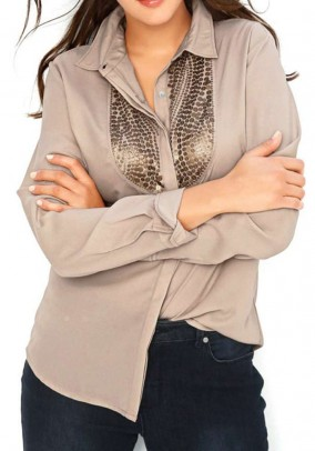 Chiffon blouse, taupe