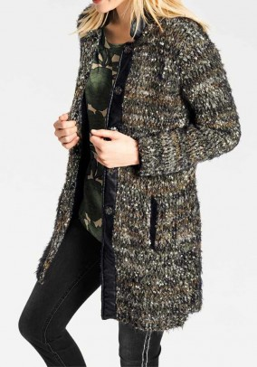 Fluffy knit coat, khaki-multicolour